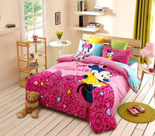 100 cotton Good quality/home textile/kids minnie mouse bedroom set Pink Girls bedding set/duvet covers queen/(China (Mainland))