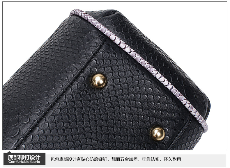 2016 Women Big Totes Handbag Snake 3 Pieces Composite Bag Chain Ladies Fashion Crossbody Bag Euripean Women Shoulder Bag NEW
