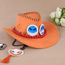 Buy One Piece luffy's Brother portgas D Ace Anime Cosplay Straw Cap Ace's Orange Hat Bones Skull Toys Free #FA for $8.90 in AliExpress store
