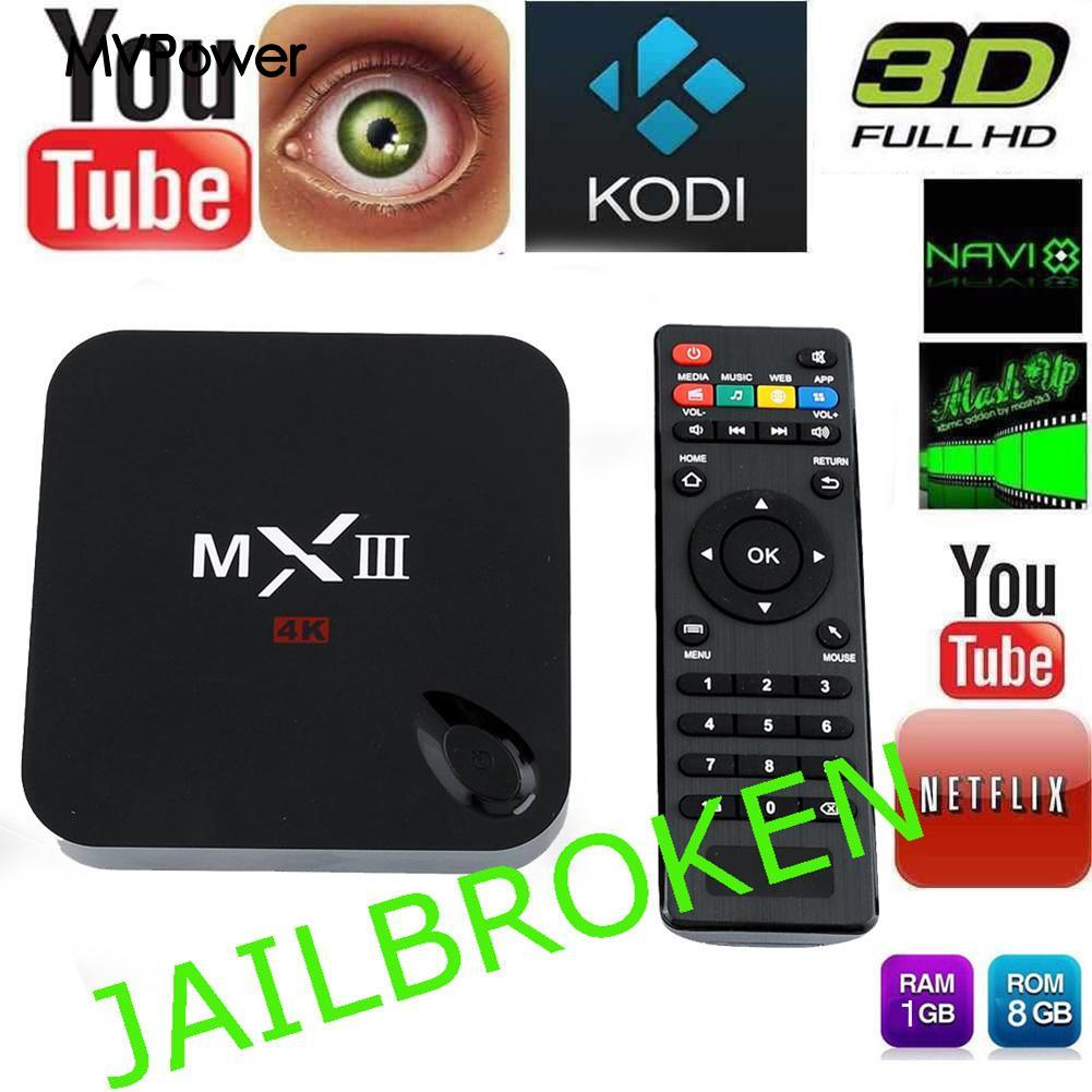 MX3 Kodi 1080P Quad Core Android 4.4 1G/8G Smart TV BOX 4K Media USplug<br><br>Aliexpress