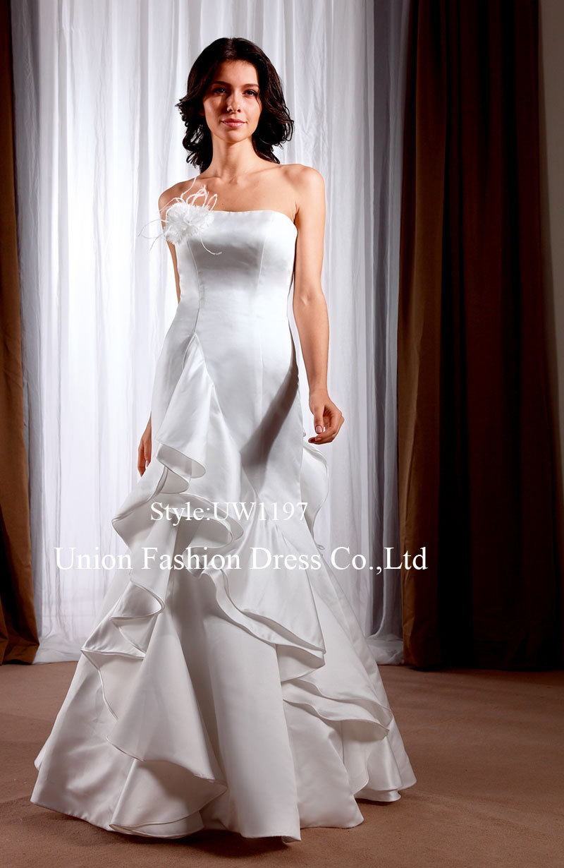 buy strapless mermaid tiered simple plain