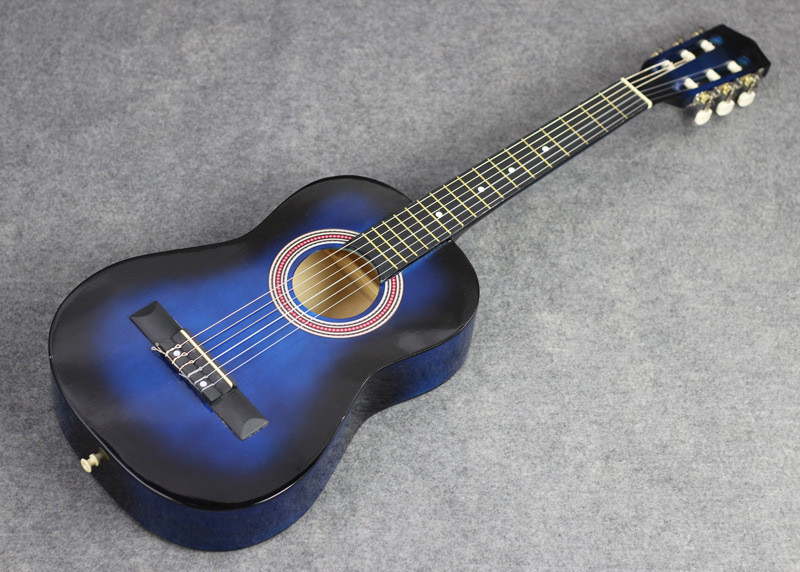 34 blue neck guitar Folk acoustic guitar Acoustic guitar, guitar to travel(China (Mainland))
