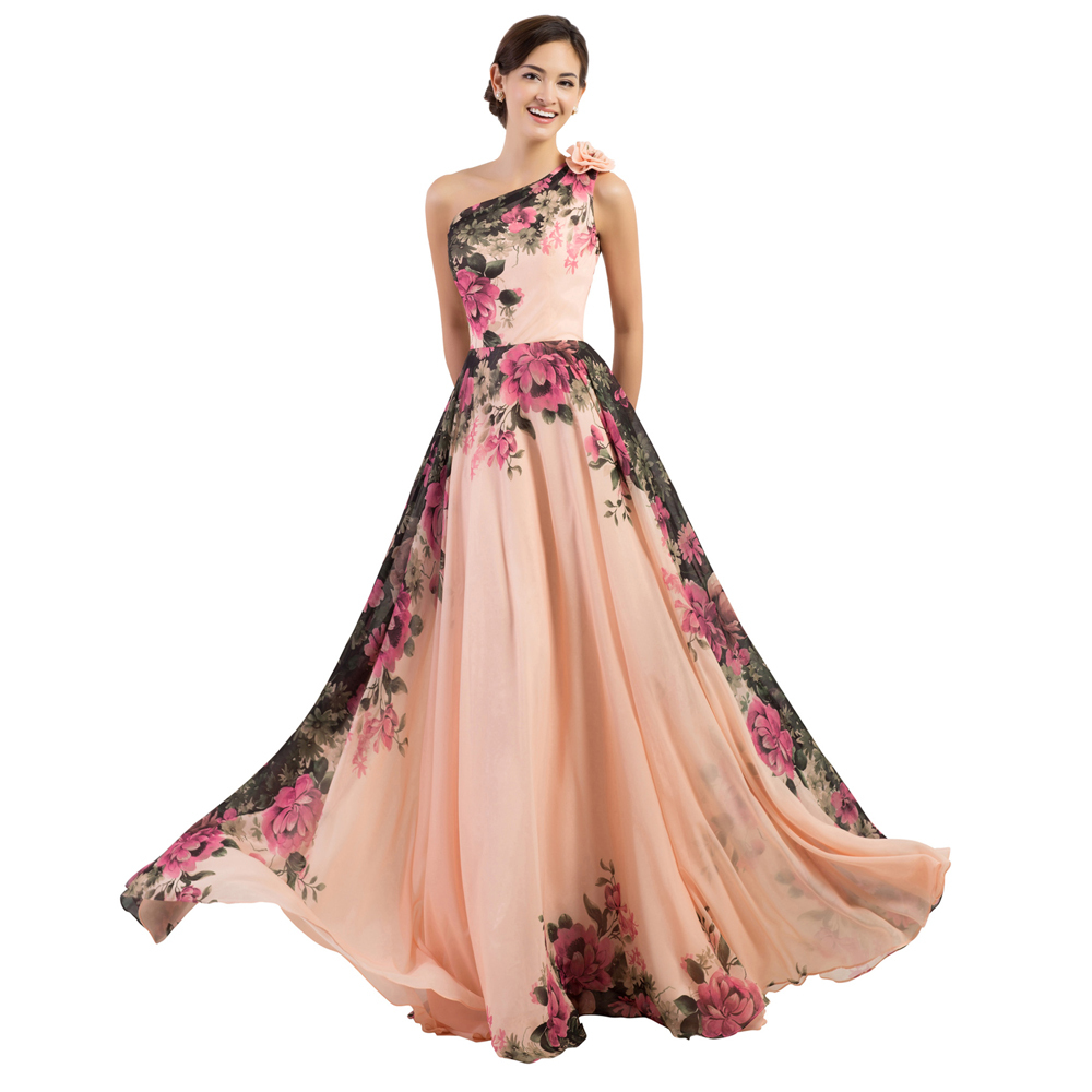 Cheap Stock A Line Chiffon Vintage Floral Print Prom Dress One Shoulder Rockabilly Gown Long Evening Party Dresses Women CL7504(China (Mainland))