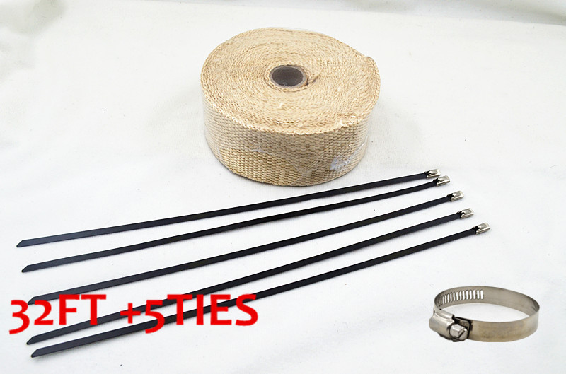 FIBERGLASS EXHAUST PIPE HEADER WRAP TAPE KIT 32 FT TURBO THERMAL THERMO PROTECT - Haining City Purute Racing Factory store