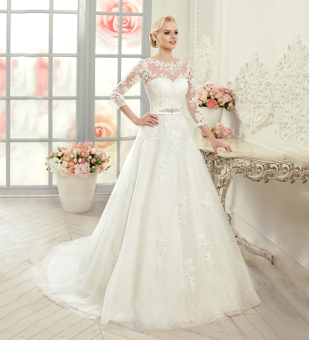 Fashion ivory lace wedding dresses 2015 see through sheer for Sheer bodice wedding dress
