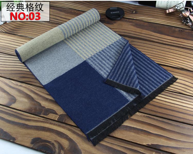 Autumn Winter New Imitation Wool Men's Scarf Korean Plaid Scarves Long Man Echarpe Casual Thickening Wraps Warm Business Scarfs