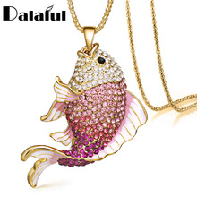 Buy 2016 New Brand Fish Crystal Goldfish Enamel Rhinestone Long Necklaces & Pendants Women Charm Party Gift X605 for $3.74 in AliExpress store