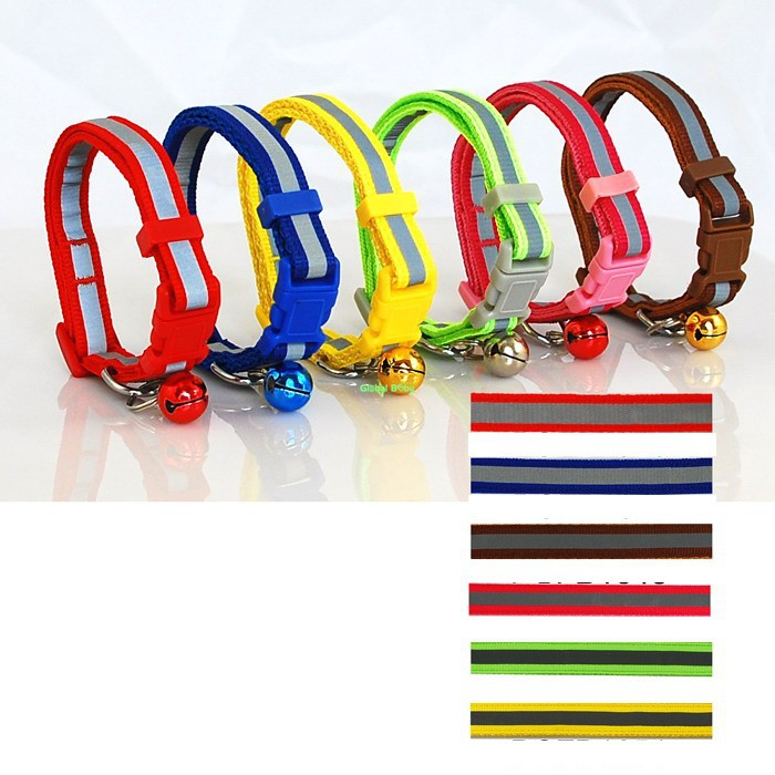 (108 Pieces/lot) 2 Sizes Wholesale Mixed Colors Reflective Nylon Small Dog Cat Collar With Bells Pet Products Shop(China (Mainland))
