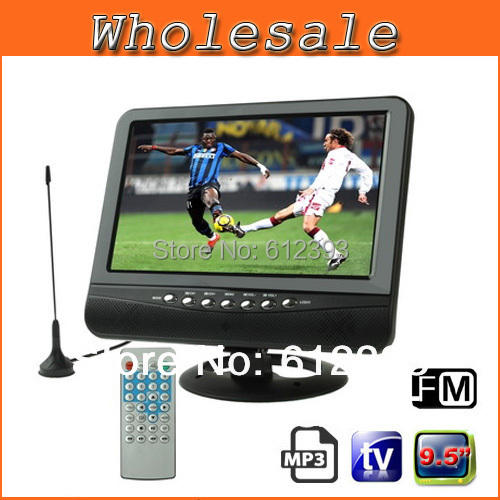 Televisions 9.5 inch TFT LCD Color Analog TV , Support SD/MMC Card, USB Flash Disk, AV In/AV Out, FM Radio Function Portable TV(China (Mainland))