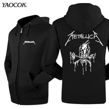 New 2016 Fashion Hip Hop Zipper Jacket Leather Winter Sports Coat Printed Metallica Rock Band Casual Hoodies Sweatshirts Men