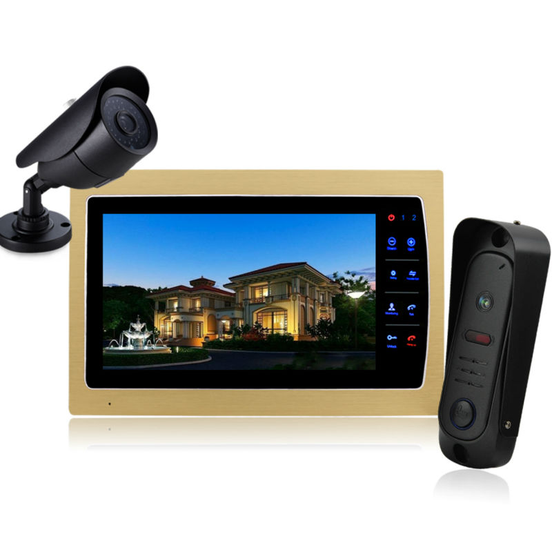 """Homefong Color 10"""" TFT LCD Display 4-line Video Door Phone Doorbell Intercom System With High Definition IR Night Vision Camera(China (Mainland))"""