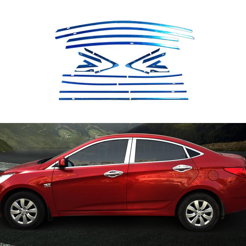 22Pcs Stainless Steel Car Full Window Trim Front Triangle Decoration Strips For Hyundai Solaris Verna Attent 2013 2014 2015<br><br>Aliexpress