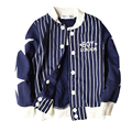 Spring Autumn fashion Long Sleeves Striped Baseball pure cotton Jacket Coat Baby Boys Clothes Kids Clothes
