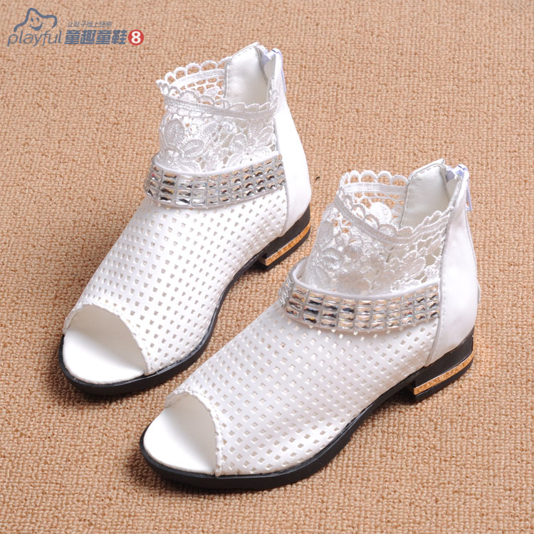 free shipping 2015 open toe female sandals child princess shoes cutout shoes network child leather rhinestone gladiator<br><br>Aliexpress