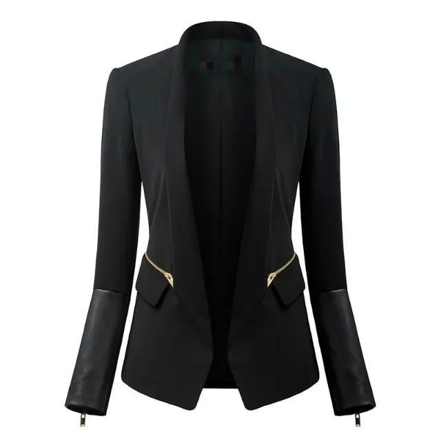 New Arrival Black Blazer For Women Long Sleeve Black Velvet Blaze With Zipper Pocket PU Block Color Blazer For Women BI00106(China (Mainland))