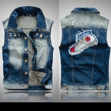 Unique Shoe Pattern Patchwork Men Casual Jean Waistcoat Slim Fit Blue Jean Vest Sleeveless Jean Jacket Asian Size M-3XL