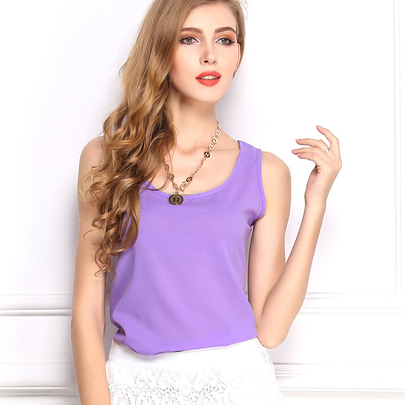 Fashion KNITTING 2015 Summer New Women Fashion Chiffon Tank Tops Vest Shirts Solid Candy 16 Color Camis Chiffon Loose Top ShirtОдежда и ак�е��уары<br><br><br>Aliexpress