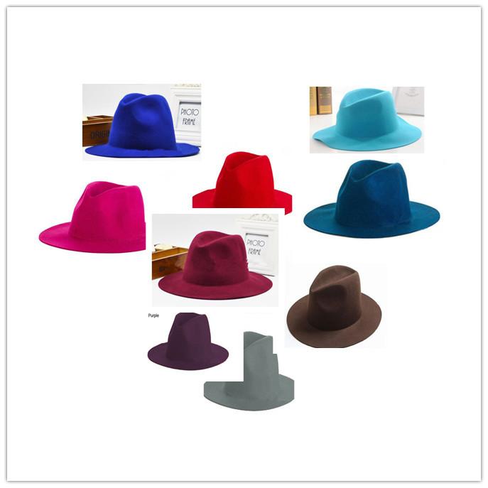 Wholesale Men Wool Felt Fedoras Hats Woman Winter Blank Trilby Caps Mens Floppy Brim Hat Round Hoed Fedora Cap Spring/Fall L927(China (Mainland))