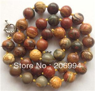 factory price new arrive natural 10mm multicolor picasso jasper necklace 18'' 2pc/lot fashion jewelry(China (Mainland))