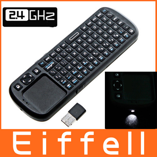2.4G RF Mini Wireless Handheld Keyboard Touchpad with Smart TV / PC Remote QWERTY LED Light Computer Peripherals Free Shipping(China (Mainland))