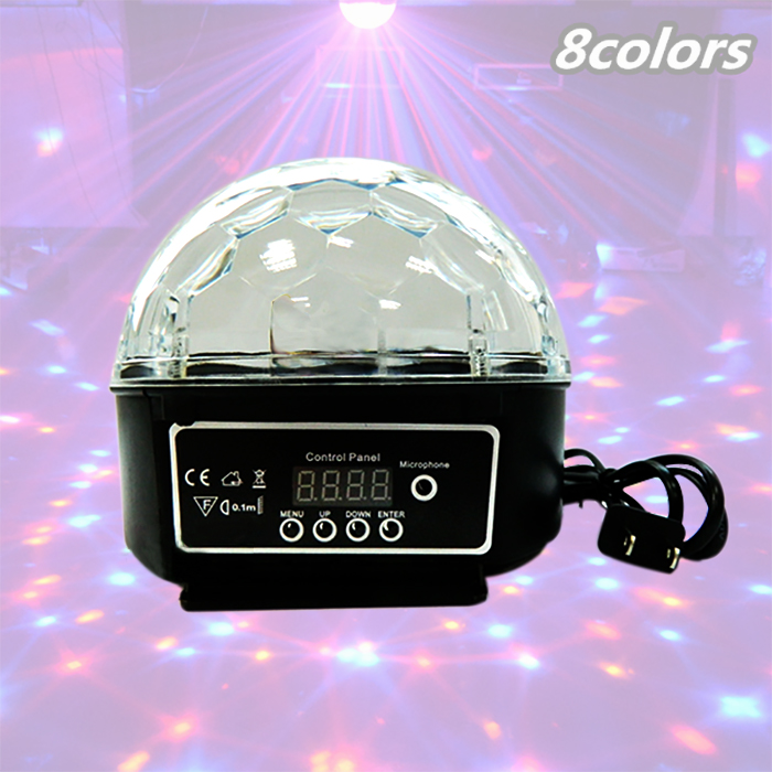 24W Sound Control Stage Light 8 Colors 110-220V 14+3 Modes LED Magic Crystal Ball Lamp Disco Light Laser Wedding Party Lamp(China (Mainland))