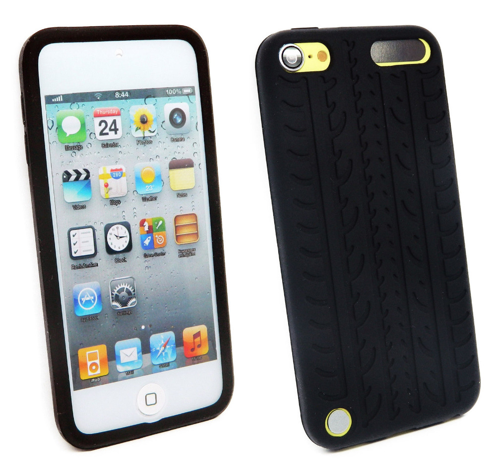 Black Tires Soft Silicone Gel Skin Case Cover For iPod Touch 5 5th 5G Gen / Touch 6 6th(China (Mainland))