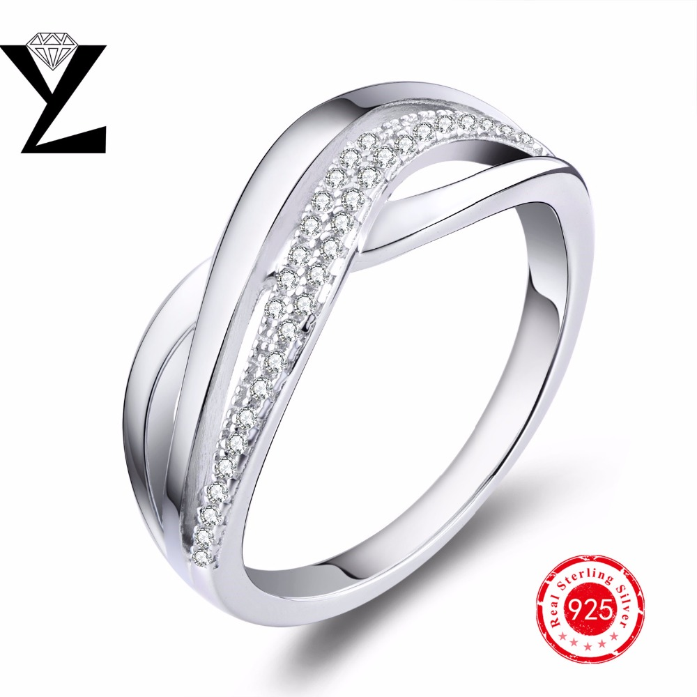 authentic 925 sterling silver wedding ring white gold With white silver wedding rings