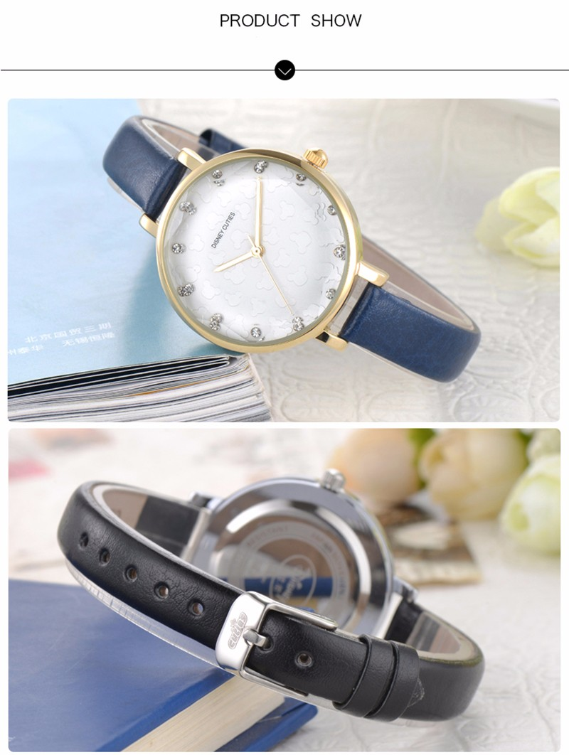 DISNEY New Fashion Brand Women Casual Quartz-Watch Clock Lady Girl Diamond Analog Dress Watch Relojes Waterproof Wristwatch