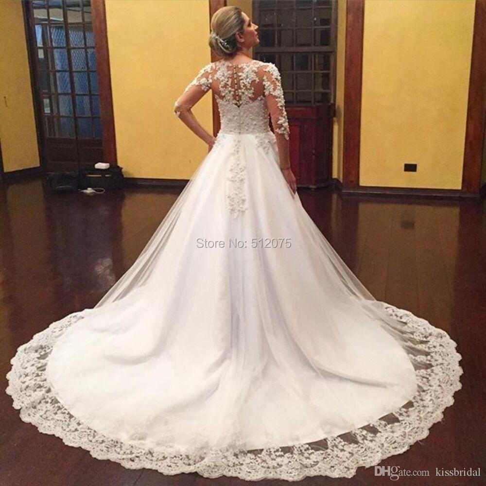 Robe de mariage New Ball Gown Wedding Dress 2016 V-Neck Long Sleeves Chapel Train Applications Tulle Long Wedding Gownst x4262(China (Mainland))