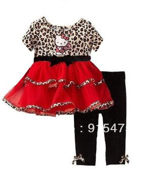 2013 new Children's set girls hello kitty clothing,leopard fashion set,short sleeve skirt+pants,sets,2 colors