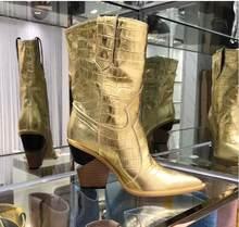 Blauw geel krokodillenleer botas mujer Westerse Laarzen Cowboy Laarzen voor vrouwen runway ontwerp Chunky Wiggen hak Mid-kalf laarzen(China)