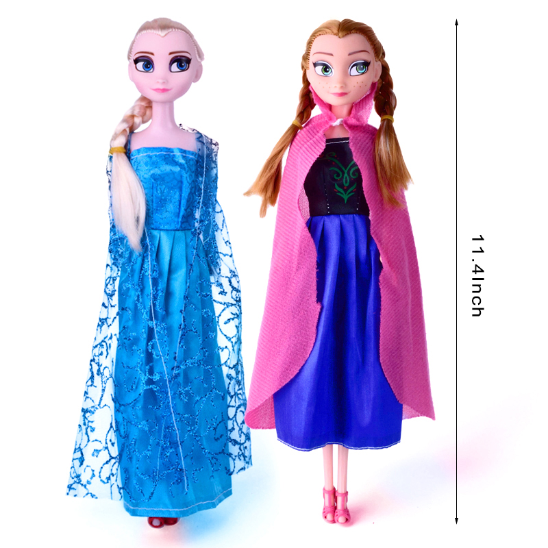 2016 Fashion Baby Doll Elsa Anna Kids Toys For Girls Snow Queen Princess Dolls Childen New Year School Gifts DA001(China (Mainland))