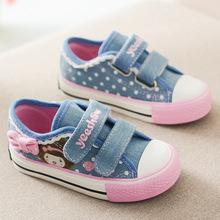 Zapatos de lona para Niños 2016 Nuevo Otoño Niños Sneakers Polka Dot Zapatillas de deporte de Moda Denim Princesa de Las Muchachas Zapatos Planos Ocasionales(China (Mainland))