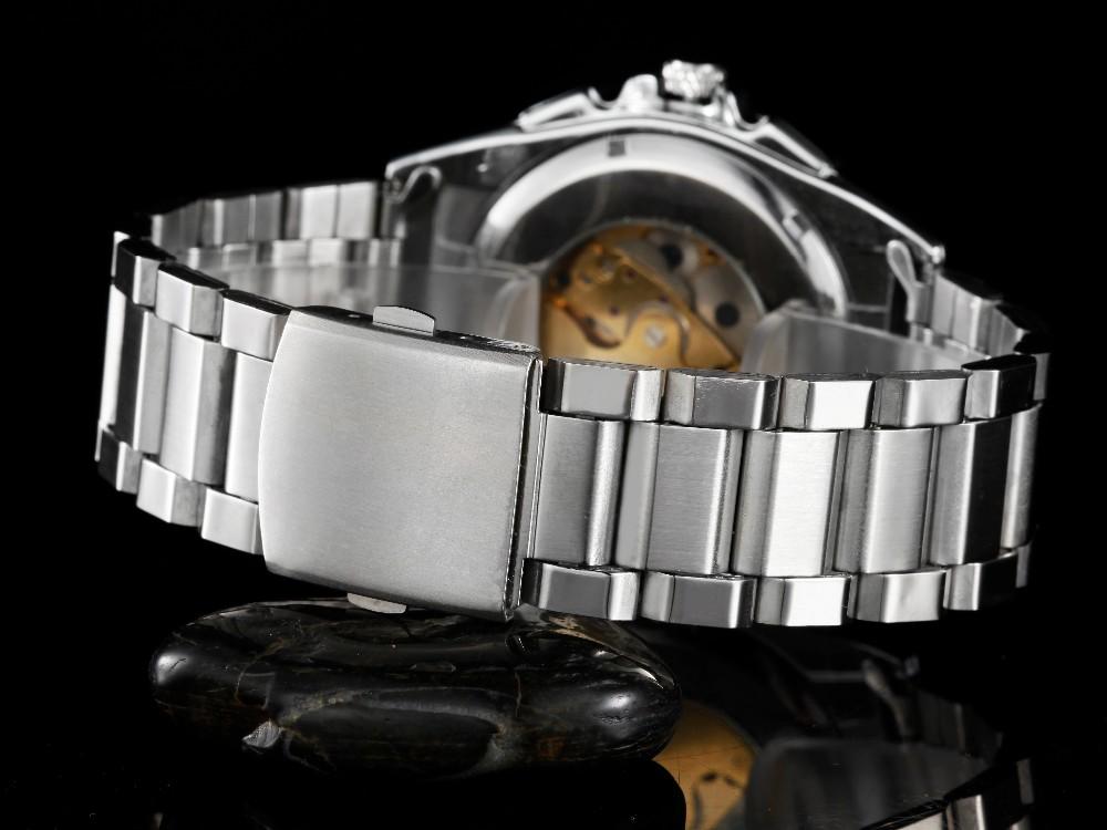 GOER марка мужские механические часы Автоматического Скелет из нержавеющей стали Световой цифровой водонепроницаемый мужчины Наручные часы