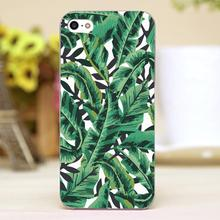 Tropical Glam Banana Leaf Print Design transparent case cover cell mobile phone cases for Apple iphone 4 4s 5 5c 5s hard shell