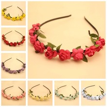 Buy 2016 New Fashion Handmade Bride Floral Flower Crown Rose Hairbands Hair Garland Festival Wedding Party Hair Accessories for $1.08 in AliExpress store