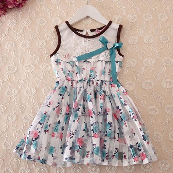 2015 Summer Princess Tutu Dress Floral Vest Tops Kids Pink/Blue Dresses Girls 2T-6T ADS297 - kids clothes on line store