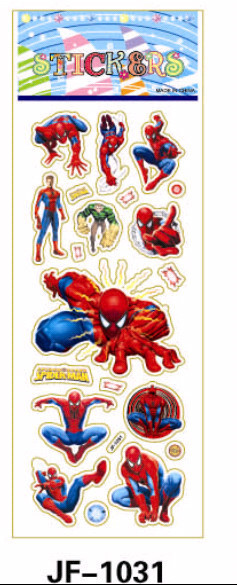 20 Sheets Combo Deal, Free shipping TY0024 Spider Hero Man Stickers, Comic Book Hero Stickers, Soft Vinyl Plastic Stickers