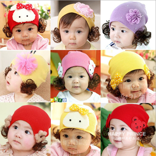 2015 New Baby Cotton Warm Flowers Ear Cap Infant Children's Cartoon Baby Pullover Wig Hat Freeshipping(China (Mainland))