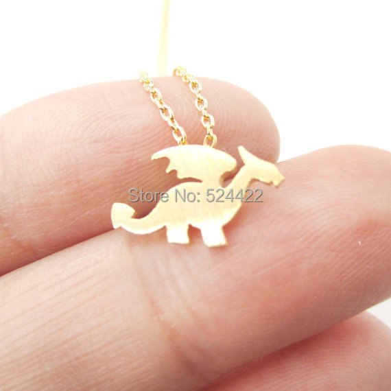 Min1pc 2015 Newest Dragon with Wings Silhouette Shaped Animal Charm Necklace in Gold and Silver Handmade Animal Jewelry XL-134(China (Mainland))