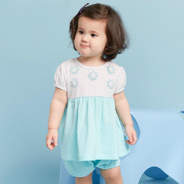 2016 Summer New Baby Girl's Clothing Sets Fashion Children Mini Dress and Shorts Set Kids Cartoon Clothes Set Carter Set(China (Mainland))