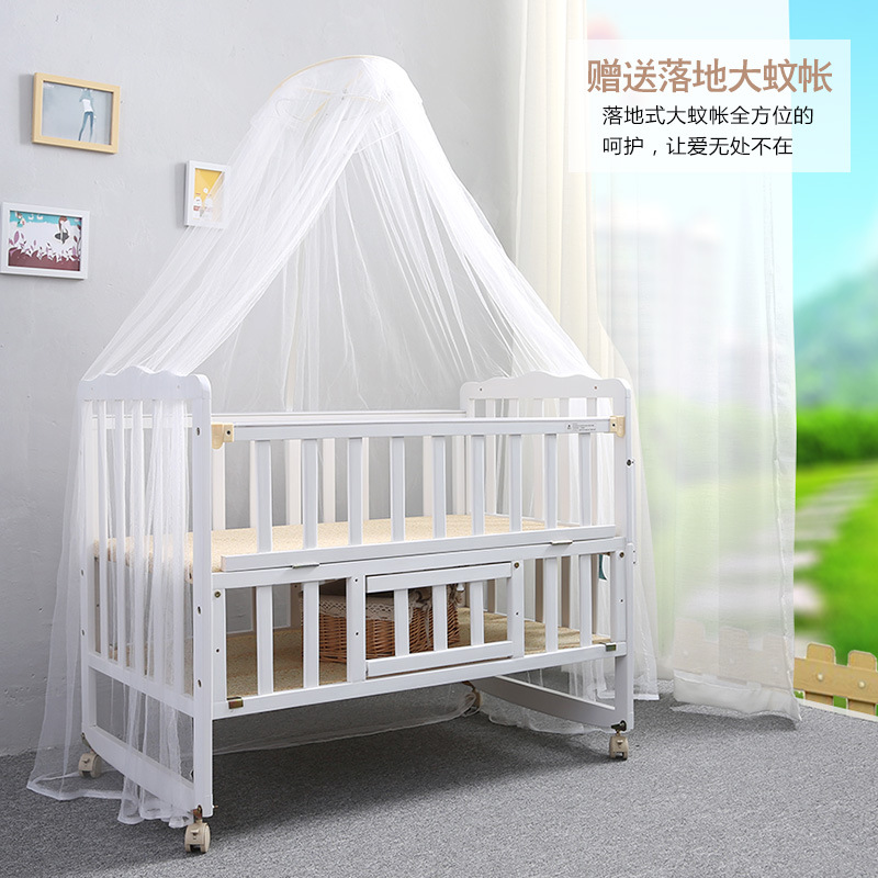 2016 Folding bed multifunction wood crib baby bed height adjustable swing beds with mosquito nets(China (Mainland))
