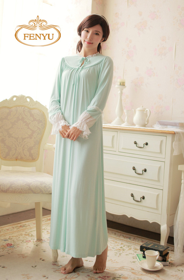 Free Shipping 2016 New Spring Princess Nightdress Women's Long Vintage Nightgown 100% Modal Green Nightshirt(China (Mainland))