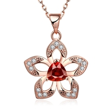 rose gold colour bridal pendant necklace 18 inches chain women lab red crystal cz zircon jewelry wholesale(China (Mainland))