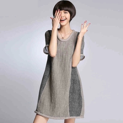 Free shipping 2015 summer style the new Euramerican style silk linen splicing MD-LONG loose big yards in the women's dress(China (Mainland))