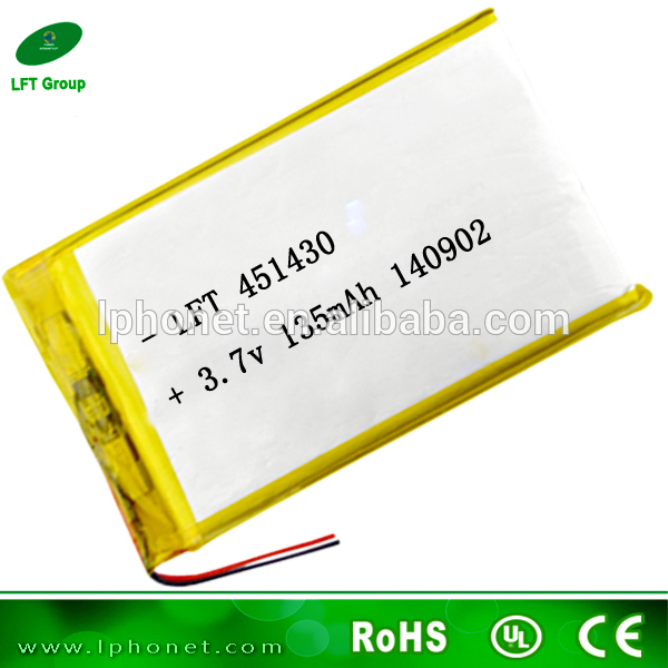 451430 new promotion small 3.7v 135mah lithium polymer battery for bluetooth blood pressure meter(China (Mainland))