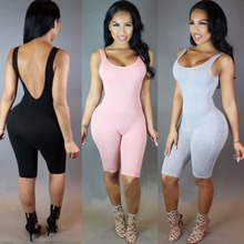 Sexy Women Rompers Solid Bodysuit Overalls Summer 2016 Cotton Bodycon Strapless Jumpsuit Backless Sport Dungarees Woman Playsuit(China (Mainland))