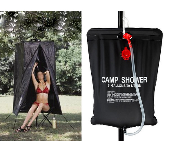 Portable Shower Bag : Portable outdoor camping hiking solar energy heated