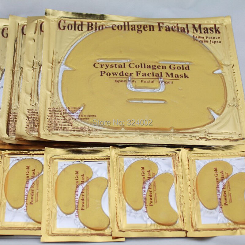 Face and Eye Care! Crystal Collagen Gold Powder Face and Eye Mask 10pair eye mask plus 10pc Face Mask With Free Shipping(China (Mainland))