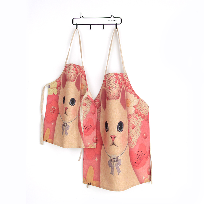 Cute Cat Printed Unique Work Apron for Men Women Child Sleeveless Restaurant Kitchen Bib Family Aprons Personalized Chef Aprons(China (Mainland))